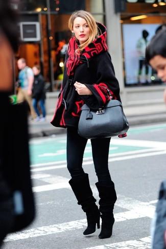 How to wear: black cape coat, black skinny jeans, black suede knee high boots, black leather satchel bag