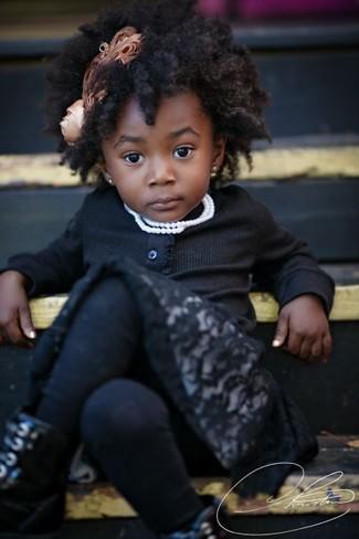 How to wear: black cardigan, black lace dress, black boots, black tights