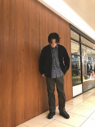 Black Cardigan Outfits For Men: Reach for a black cardigan and dark brown chinos for a edgy and casual and stylish ensemble. Consider black leather desert boots as the glue that will bring this outfit together.
