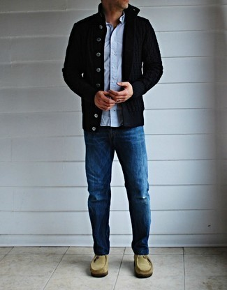 Black Cardigan Outfits For Men: A black cardigan and blue jeans paired together are a sartorial dream for those dressers who appreciate casual styles. If you're clueless about how to finish, complete your look with beige suede desert boots.