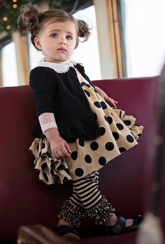 How to wear: black cardigan, tan dress, black ballet flats