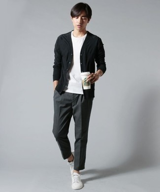 Black Cardigan Outfits For Men: The wardrobe of any discerning gent should always include such must-haves as a black cardigan and charcoal dress pants. And if you want to effortlessly dress down your ensemble with a pair of shoes, why not introduce white canvas low top sneakers to the equation?
