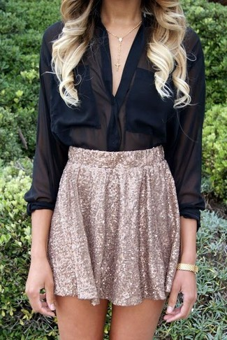 How to wear: black chiffon button down blouse, gold sequin skater skirt, gold bracelet