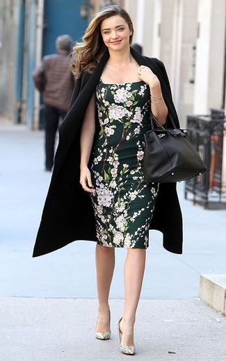 How to wear: black coat, black floral bodycon dress, silver pumps, black leather handbag