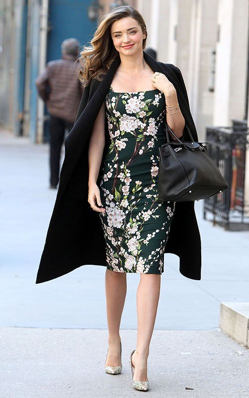 Miranda Kerr wearing Black Coat, Black Floral Bodycon Dress ...