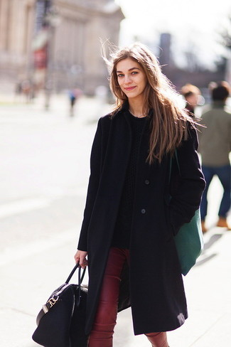 How to wear: black coat, black cable sweater, burgundy leather skinny pants, black leather tote bag