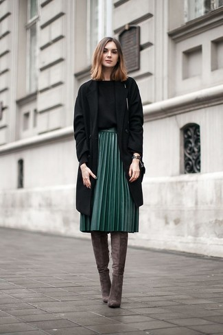 How to wear: black coat, black crew-neck sweater, dark green pleated leather midi skirt, charcoal suede over the knee boots