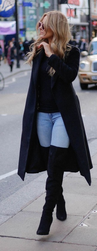 N21 Double Breasted Coat With Feathered Hem