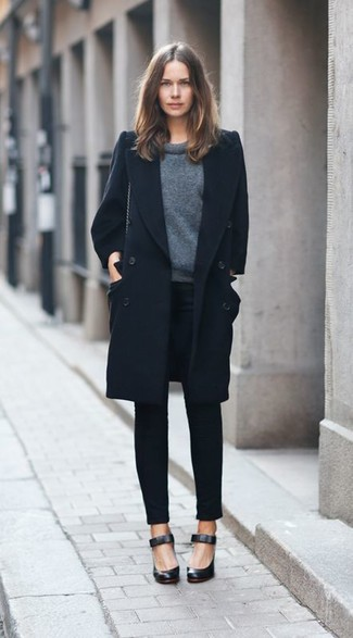 Women's Black Coat, Charcoal Crew-neck Sweater, Black Skinny Pants, Black Leather Pumps