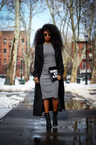 Pairing a black coat with a grey bodycon dress is a comfortable option for running errands in the city. Complement this look with black leather lace-up ankle boots.