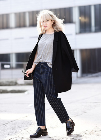 How to wear: black coat, grey crew-neck t-shirt, navy vertical striped dress pants, black leather tassel loafers