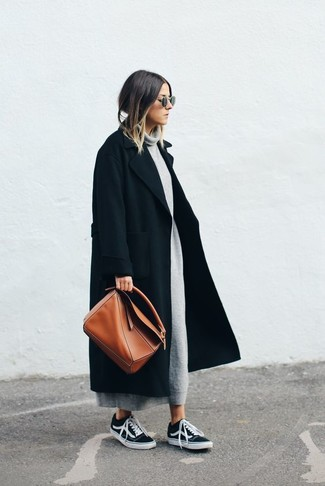 How to wear: black coat, grey sweater dress, black low top sneakers, tobacco leather tote bag