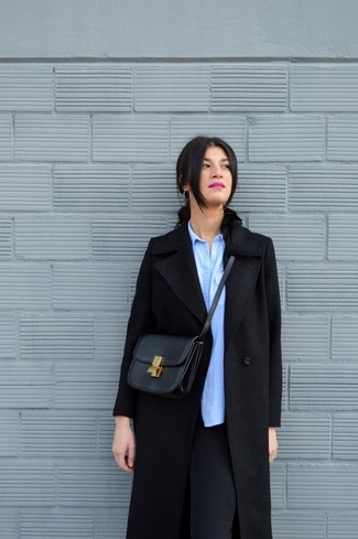 How to wear: black coat, light blue chambray dress shirt, black leggings, black leather crossbody bag