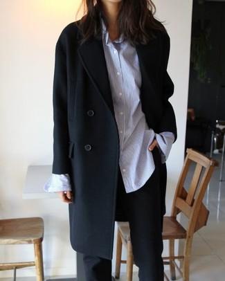 How to wear: black coat, light blue vertical striped dress shirt, black dress pants