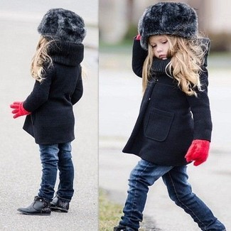 How to wear: black coat, navy jeans, black boots, red gloves