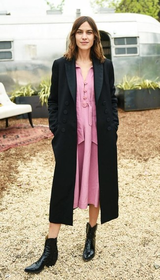 How to wear: black coat, pink midi dress, black leather cowboy boots