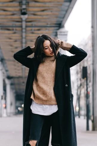 Asymmetrical Zip Wool Blend Coat