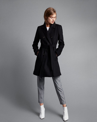 How to wear: black coat, white crew-neck t-shirt, grey dress pants, white leather low top sneakers
