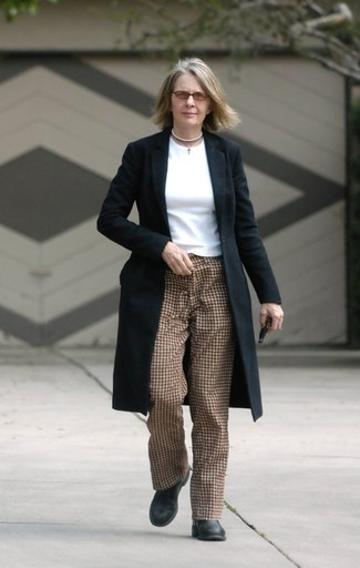 How to wear: black coat, white long sleeve t-shirt, brown check tapered pants, black leather ankle boots