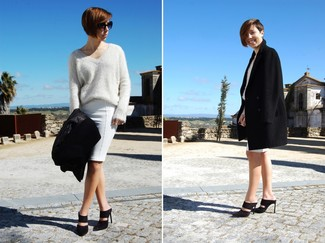 Go for a sophisticated look in a black coat and a white pencil skirt. Round off this look with black suede mules.