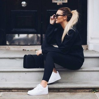 How to wear: black crew-neck sweater, black leggings, white low top sneakers, black suede crossbody bag