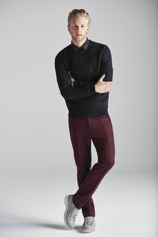How to wear: black crew-neck sweater, black print long sleeve shirt, burgundy dress pants, grey leather casual boots