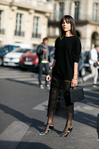 How to wear: black crew-neck sweater, black lace midi skirt, silver leather pumps, black leather handbag