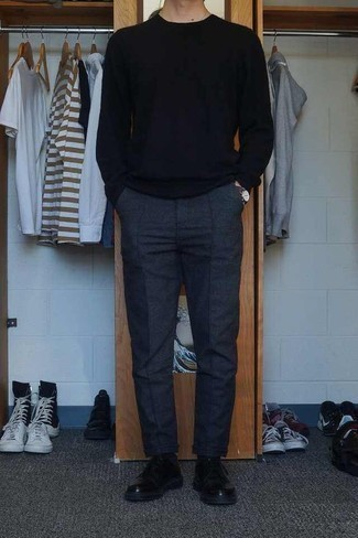 Men's Looks & Outfits: What To Wear In Fall: Reach for a black crew-neck sweater and charcoal wool chinos to achieve a daily ensemble that's full of charisma and character. Serve a little mix-and-match magic by sporting black leather derby shoes. We love that this ensemble is great when chillier days are here.
