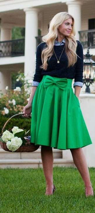 How to wear: black crew-neck sweater, grey dress shirt, green pleated midi skirt, gold pendant