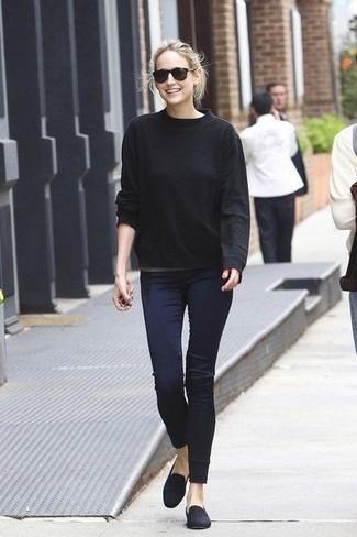 Women's Black Crew-neck Sweater, Navy Skinny Pants, Navy Suede Loafers
