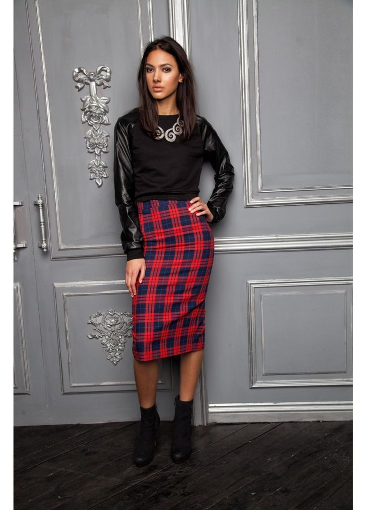 How to Wear a Red Plaid Pencil Skirt (6 looks) | Women's Fashion