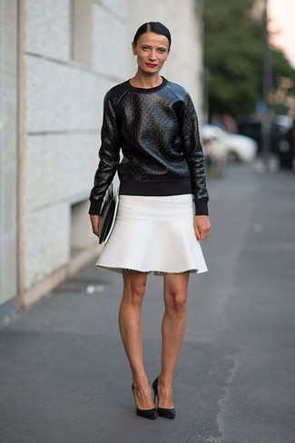 Women's Black Leather Crew-neck Sweater, White A-Line Skirt, Black ...