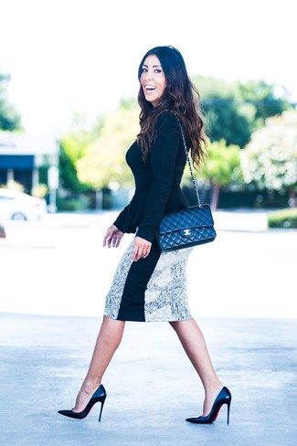 Women's Black Crew-neck Sweater, White and Black Print Pencil Skirt, Black Leather Pumps, Black Quilted Leather Crossbody Bag