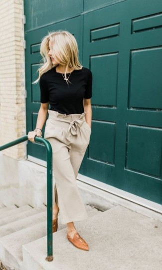 How to wear: black crew-neck t-shirt, beige culottes, tan leather loafers