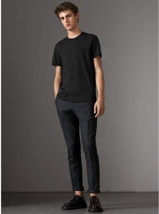 Black Crew-neck T-shirt Outfits For Men: This combination of a black crew-neck t-shirt and black chinos is extra stylish and creates instant appeal. Why not introduce a pair of black chunky leather derby shoes to your ensemble for a sense of polish?
