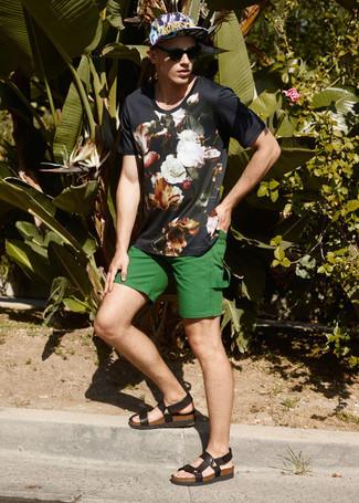 Men's Black Floral Crew-neck T-shirt, Green Shorts, Dark Brown Leather Sandals, Black Floral Baseball Cap