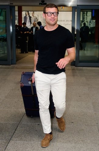 Dermot O'Leary wearing Black Crew-neck T-shirt, White Chinos, Brown Suede Derby Shoes, Black Socks