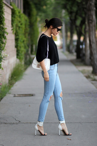 Women's Black Cropped Sweater, Light Blue Ripped Skinny Jeans ...
