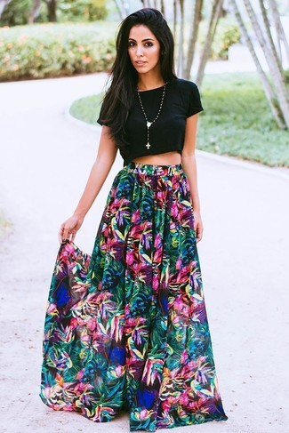 How to wear: black cropped top, multi colored floral maxi skirt, black beaded pendant