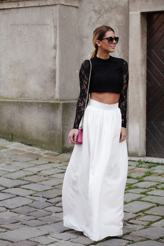 Women's Black Lace Cropped Top, White Maxi Skirt, Hot Pink Leather ...