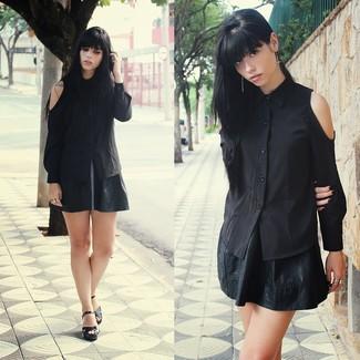 c27e9f74fe Women's Black Cutout Button Down Blouse, Black Leather Skater Skirt, Black  Leather Heeled Sandals | Women's Fashion | Lookastic.com
