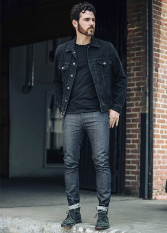 How to Wear a Black Denim Jacket For Men: If you like off-duty combinations, then you'll like this combo of a black denim jacket and charcoal jeans. Tone down the casualness of this outfit with dark green leather casual boots.