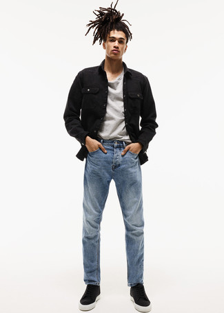 How to wear: black denim jacket, grey crew-neck t-shirt, blue jeans, black leather high top sneakers