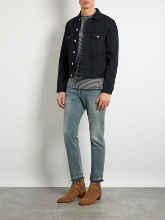 How to wear: black denim jacket, grey horizontal striped crew-neck t-shirt, light blue jeans, brown suede cowboy boots