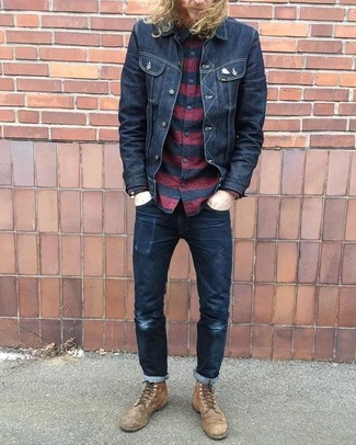 How to wear: black denim jacket, red and black horizontal striped long sleeve shirt, black jeans, brown leather casual boots