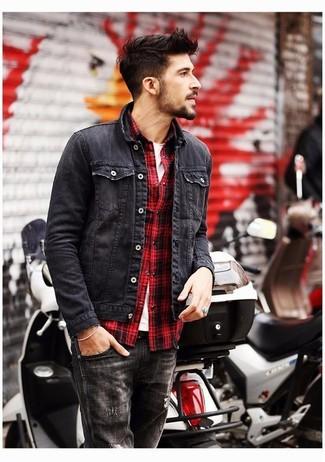 How to wear: black denim jacket, red plaid long sleeve shirt, white crew-neck t-shirt, black jeans