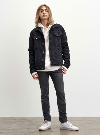 How to Wear White Leather High Top Sneakers For Men: Extremely stylish, this laid-back pairing of a black denim jacket and charcoal jeans provides with a multitude of styling possibilities. Complete your outfit with white leather high top sneakers to instantly dial up the wow factor of your look.
