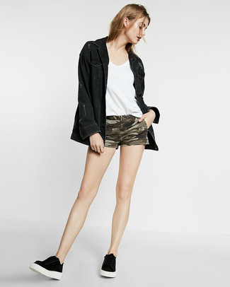 Olive Camouflage Denim Shorts Outfits For Women: Try pairing a black denim jacket with olive camouflage denim shorts for comfort dressing with a modern twist. Black low top sneakers will be a stylish companion to this ensemble.