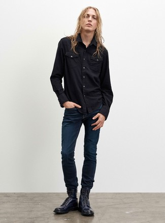 How to Wear Navy Leather Casual Boots For Men: Rock a black denim shirt with navy jeans to feel infinitely confident in yourself and look casual and cool. To give your overall look a more sophisticated aesthetic, complete this getup with navy leather casual boots.
