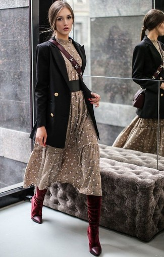 How to Wear a Black Double Breasted Blazer For Women: Try teaming a black double breasted blazer with an olive floral midi dress to achieve an incredibly chic and current laid-back outfit. Burgundy velvet knee high boots are a wonderful option to complete this look.